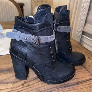 Dolce Vita combat boots. Black w/ gray suede strap